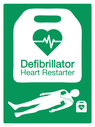 <p>This new design of defibrillator signage has been developed by the British Heart Foundation in collaboration with the Recusitation Council. The aim is to make it easier to understand if people are unsure what the current terminology'AED' or 'defibrillator' means.</p> Text: Defibrillator Heart Restarter