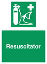<p>Resuscitator with symbol</p> Text: Resuscitator