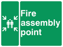 Fire assembly point safety sign with symbol Text: fire assembly point
