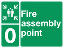 <p>assembly point symbol with zone or unique reference of 0 (zero)</p> Text: fire assembly point 0