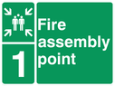 <p>assembly point symbol with zone or unique reference of 1 (one)</p> Text: fire assembly point 1
