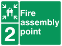<p>assembly point symbol with zone or unique reference of 2 (two)</p> Text: fire assembly point 2