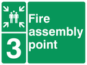 <p>assembly point symbol with zone or unique reference of 3(three)</p> Text: fire assembly point 3
