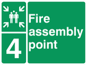 <p>assembly point symbol with zone or unique reference of 4(four)</p> Text: fire assembly point 4