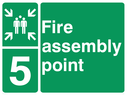 <p>assembly point symbol with zone or unique reference of 5 (five)</p> Text: fire assembly point 5