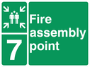 <p>assembly point symbol with zone or unique reference of 7(seven)</p> Text: fire assembly point 7