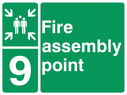 <p>assembly point symbol with zone or unique reference of 9(nine)</p> Text: fire assembly point 9