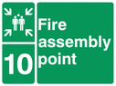 <p>assembly point symbol with zone or unique reference of 10 (ten)</p> Text: fire assembly point 10