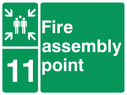 <p>assembly point symbol with zone or unique reference of 11(eleven)</p> Text: fire assembly point 11
