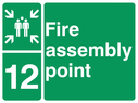 <p>assembly point symbol with zone or unique reference of 12(twelve)</p> Text: fire assembly point 12