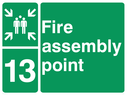 <p>assembly point symbol with zone or unique reference of 13 (thirteen)</p> Text: fire assembly point 13