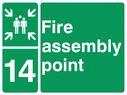 <p>assembly point symbol with zone or unique reference of 14(fourteen)</p> Text: fire assembly point 14