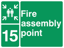 <p>assembly point symbol with zone or unique reference of 15(fifteen)</p> Text: fire assembly point 15