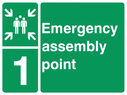 <p>assembly point symbol with zone or unique reference of 1 (one)</p> Text: Emergency assembly point 1