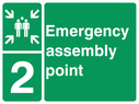 <p>assembly point symbol with zone or unique reference of 2 (two)</p> Text: Emergency assembly point 2