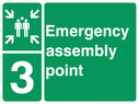 <p>assembly point symbol with zone or unique reference of 3(three)</p> Text: Emergency assembly point 3