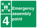 <p>assembly point symbol with zone or unique reference of 4(four)</p> Text: Emergency assembly point 4