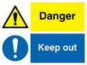 Dual sign: exclamation in yellow warning triangle / exlamation in blue circle Text: Danger Keep out