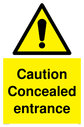 <p>Concealed entrance with general warning symbol</p> Text: Caution Concealed entrance