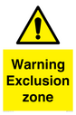 general warning symbol in warning triangle Text: Warning Exclusion zone