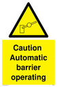 barrier warning symbol in warning triangle Text: Caution  Automatic barrier operating