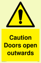 <p>Caution Doors open outwards Warning Sign</p><p>with electricity warning symbol.</p> Text: Caution Doors open outwards