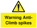 <p>Warning Anti-Climb spikes with exclamation in warning triangle</p> Text: Warning Anti-Climb spikes