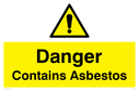 exclamation in warning triangle Text: danger contains asbestos