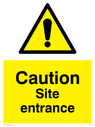 <p>Site entrance exclamation in warning triangle</p> Text: caution site entrance