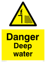 man on quay side in warning triangle Text: danger deep water