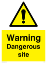 general warning symbol in warning triangle Text: Warning Dangerous site