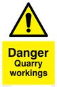 General warning symbol Text: Danger Quarry workings