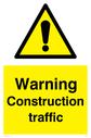 General warning symbol Text: Warning Construction traffic