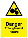 moving machinery symbol in warning triangle Text: Danger Entanglement hazard