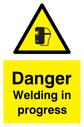 welding mask symbol in warning triangle Text: Danger Welding in progress