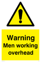 general warning symbol in warning triangle Text: Warning Men working overhead