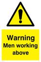 general warning symbol in warning triangle Text: Warning Men working above