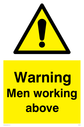 general warning symbol in warning triangle Text: Warning Men working above