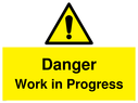 <p>Gender neutral construction warning sign, Danger Work in Progress with exclamation in warning triangle</p> Text: Danger Work in Progress