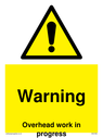<p>Gender neutral construction warning sign, Warning Overhead work in progress with exclamation in warning triangle</p> Text: Warning Overhead work in progress