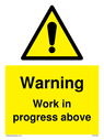 <p>Gender neutral construction warning sign, Warning Work in progress above with exclamation in warning triangle</p> Text: Warning Work in progress above