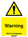 <p>Gender neutral construction warning sign, Warning Work in progress below with exclamation in warning triangle</p> Text: Warning Work in progress below