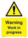 <p>Gender neutral construction warning sign, Warning Work in progress with exclamation in warning triangle</p> Text: Warning Work in progress