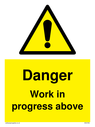 <p>Gender neutral construction warning sign, Danger Work in progress above with exclamation in warning triangle</p> Text: Danger Work in progress above