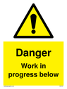 <p>Gender neutral construction warning sign, Danger Work in progress below with exclamation in warning triangle</p> Text: Danger Work in progress below
