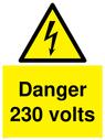 <p>Danger 230 volts sign </p> Text: Danger 230 volts