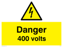 Electrical warning triangle, with black text on yellow background Text: Danger 400 volts