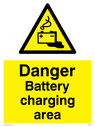battery charging symbol in warning triangle Text: Danger Battery charging area