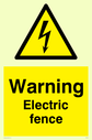 Electric fence safety warning sign with electricity warning symbol. Text: warning electric fence
