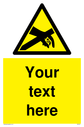 Custom Anti-Static Warning Sign. Add your own custom text. Normal delivery times apply. Yellow Anti-Static Warning Symbol. This symbol and sign layout complies with new EN7010 legislation that governs safety signs. Text: Your text here - just add to your order and fill in the 'special instructions' box at the basket to confirm your required text.